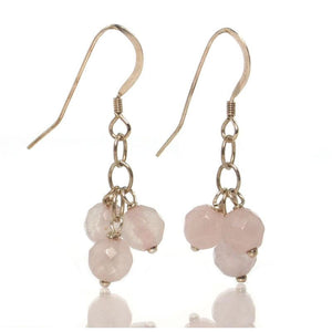 Rose Quartz Earrings with Sterling Silver French Ear Wires