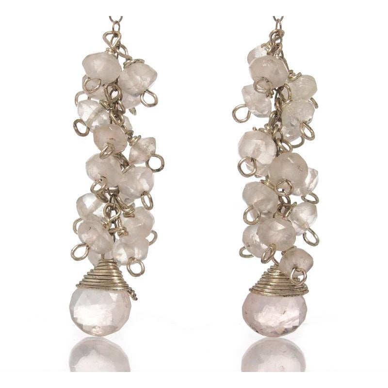 Rose Quartz Earrings with Sterling Silver Post Ear Wires