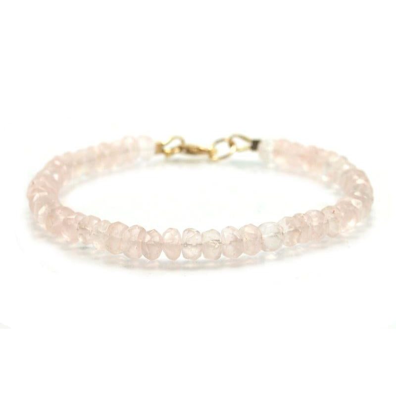 Rose Quartz Faceted Rondelle Bracelet with Gold Filled Trigger Clasp
