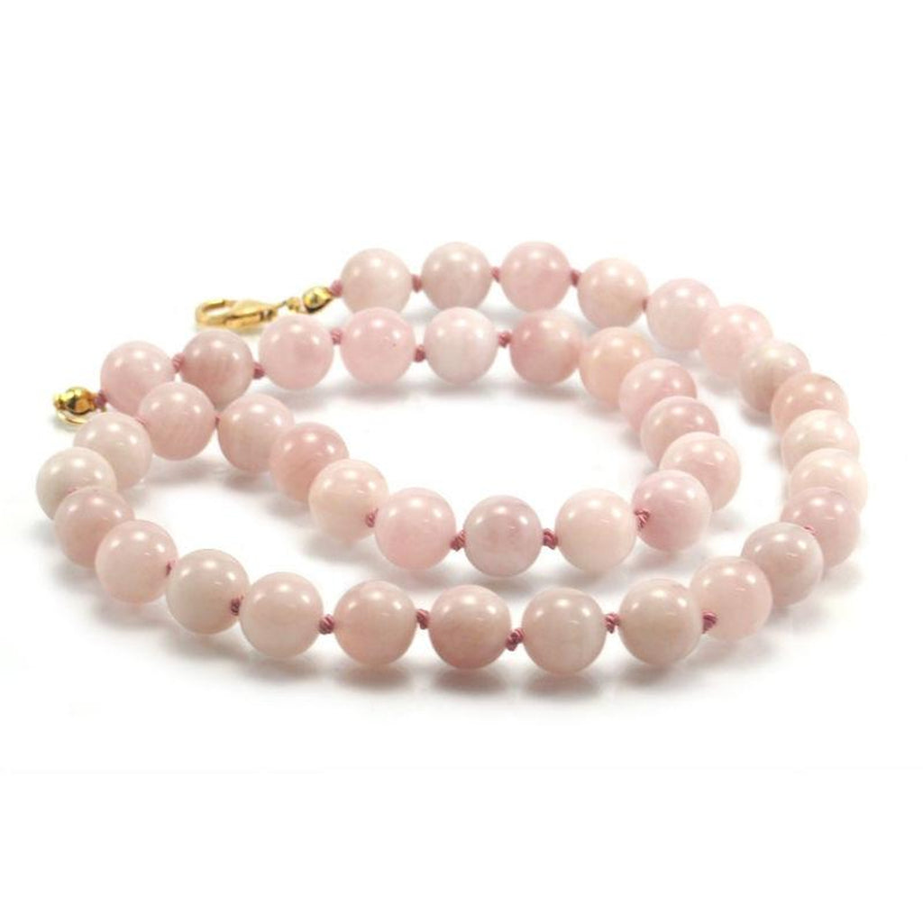 Rose Quartz Knotted Necklace with Gold Filled Trigger Clasp