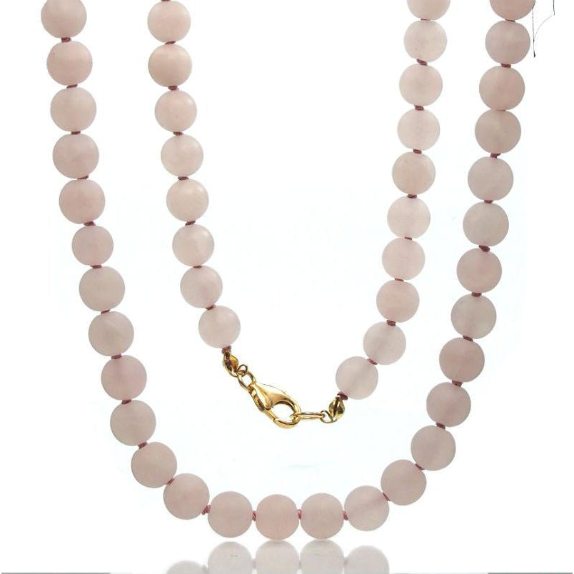 Rose Quartz Matte Necklace with Gold Filled Trigger Clasp