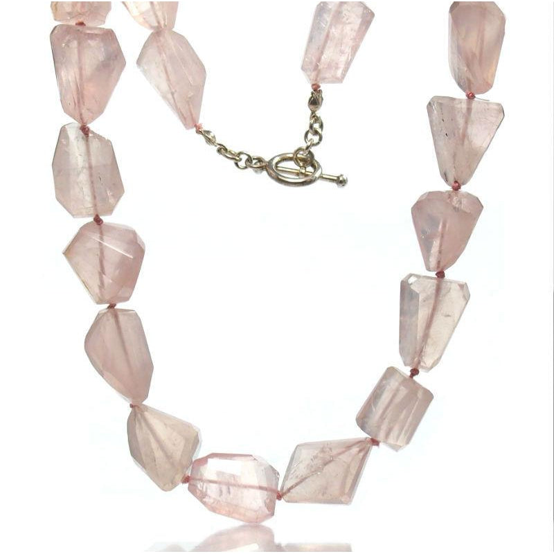 Rose Quartz Knotted Necklace with Sterling Silver Toggle Clasp