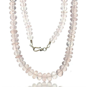 Rose Quartz Faceted Necklace with Sterling Silver Hook Clasp