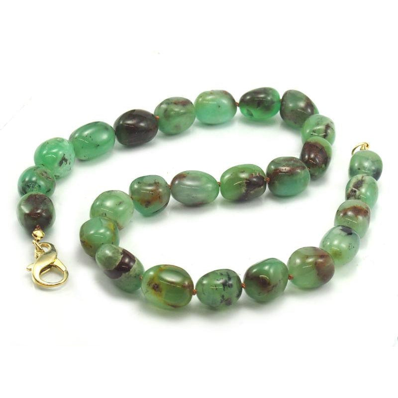 Chrysoprase Necklace with Gold Filled Fancy Lobster Claw Clasp