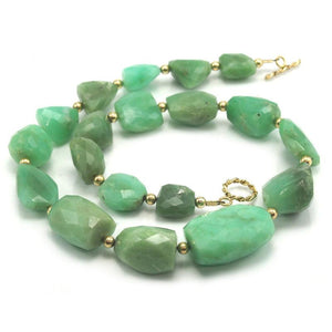 Chrysoprase Necklace with Gold Plated Toggle Clasp