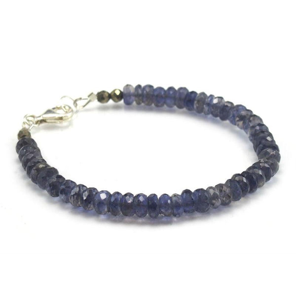 Iolite Faceted Bracelet with Sterling Silver Trigger Clasp