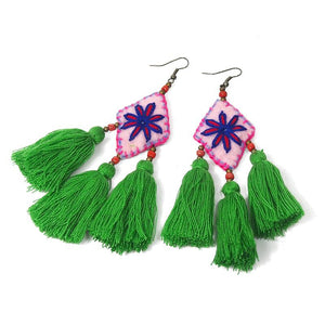 Felt Embroidered Hilltribe Earrings, A