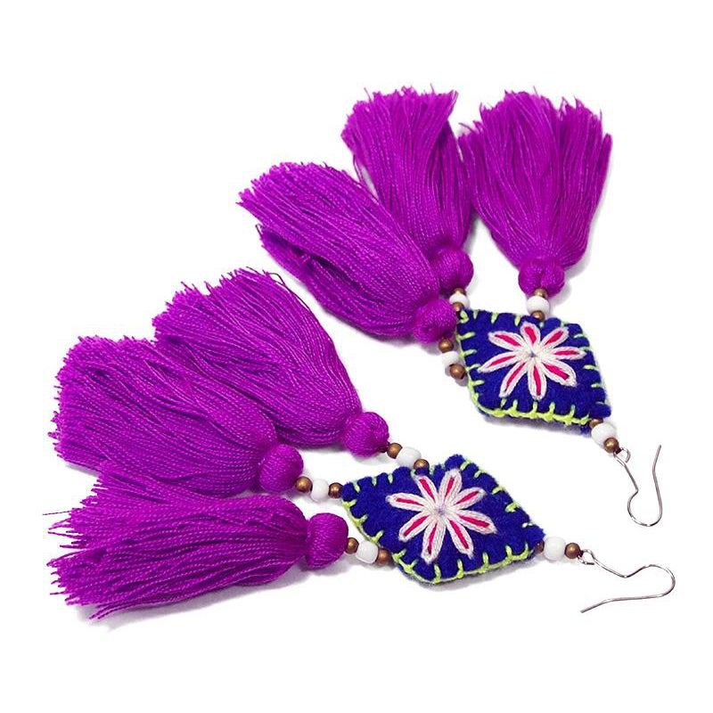 Felt Embroidered Hilltribe Earrings, C