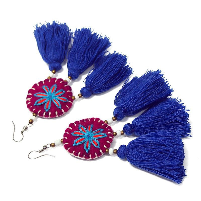 Felt Embroidered Hilltribe Earrings, F