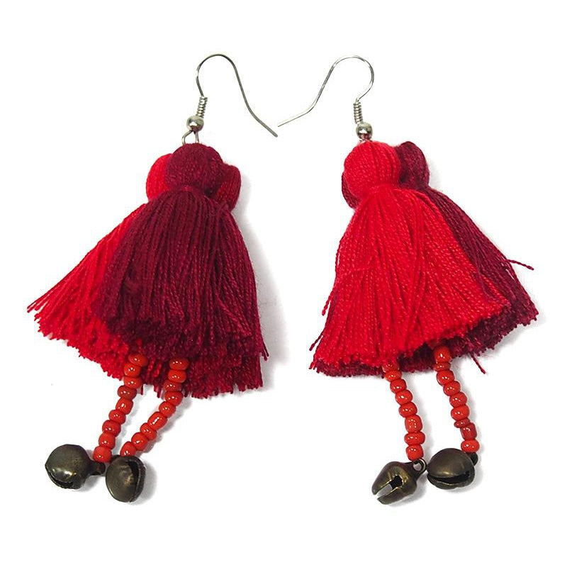 Hilltribe Triple Tassel Earrings With Bells, B