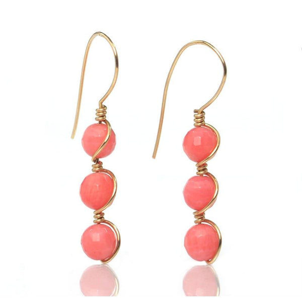 Coral Earrings with Gold Filled Ear Wires