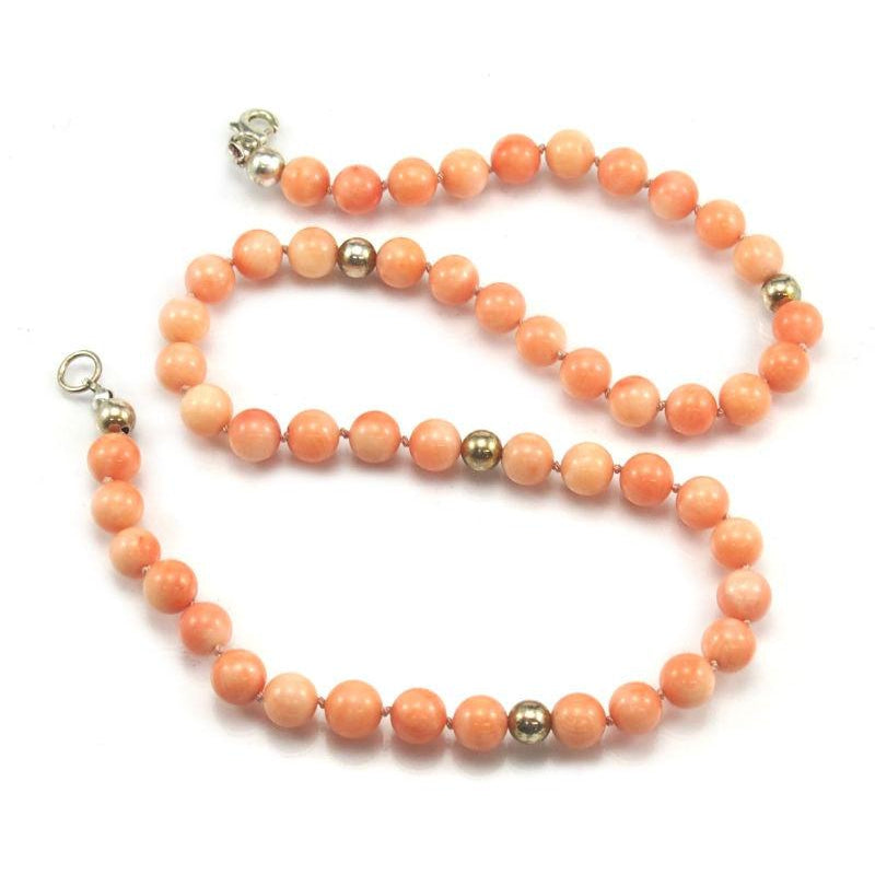 Coral Necklace with Sterling Silver Trigger Clasp