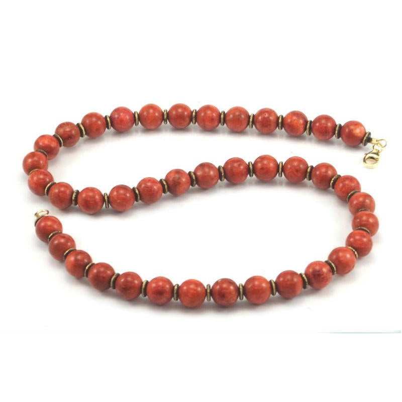 Coral and Brass Necklace with Gold Filled Trigger Clasp