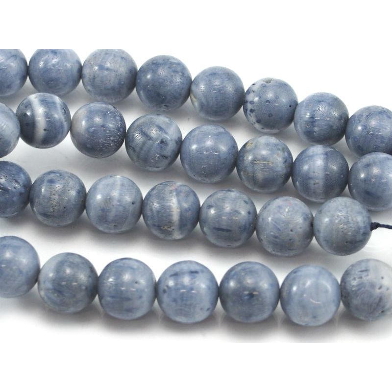 Blue Coral Smooth Rounds 11mm Strand