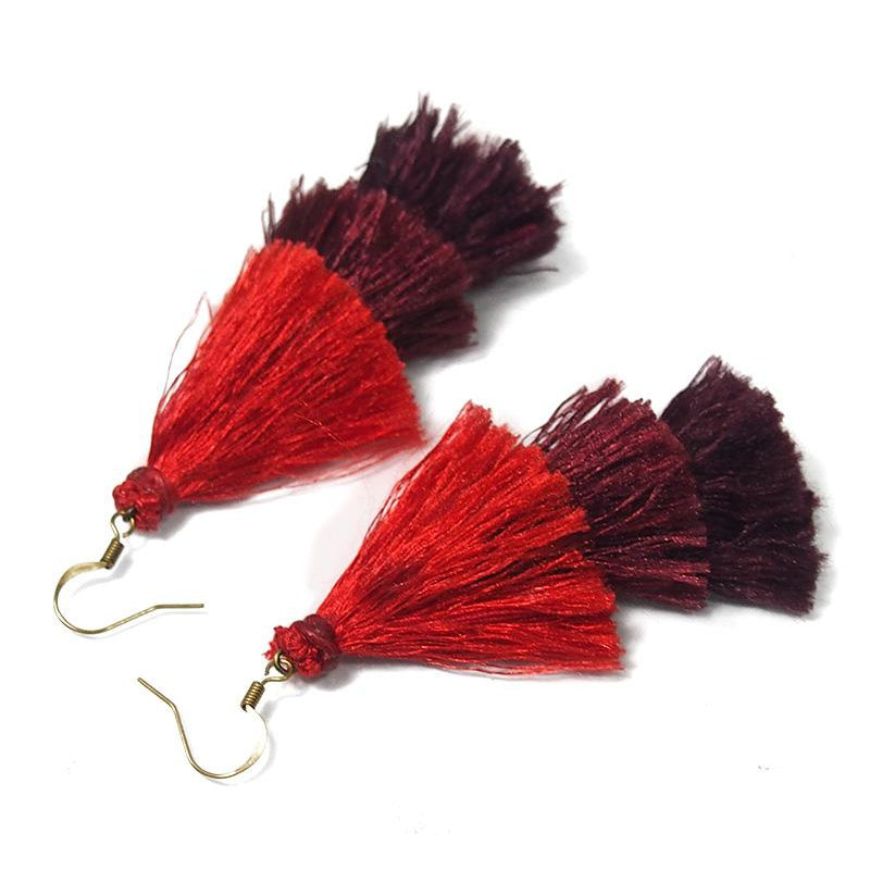Triple Tassel Earrings, B