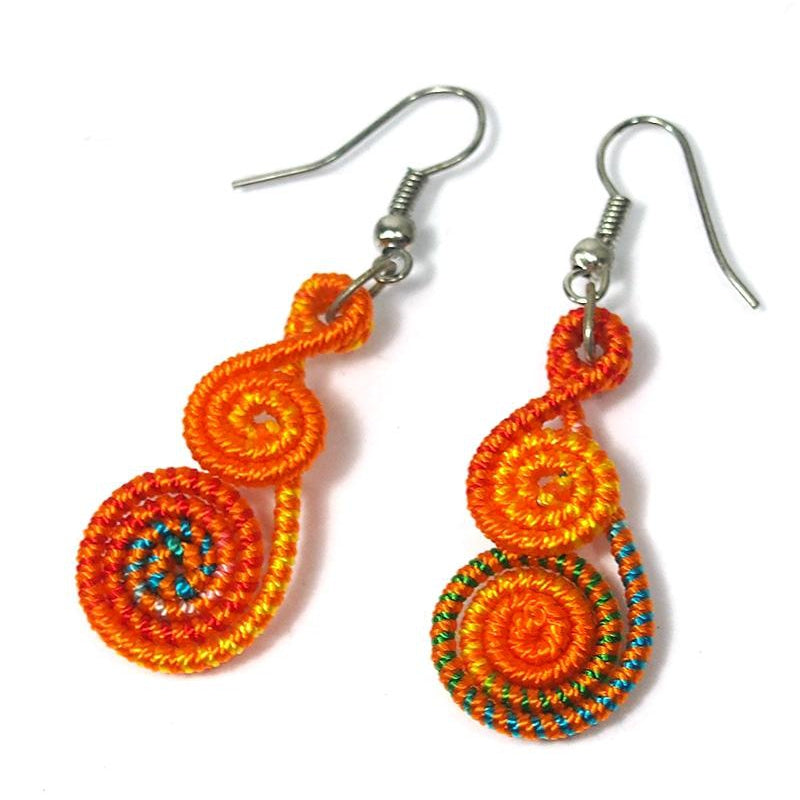 Fabric Spiral Hilltribe Earrings, B
