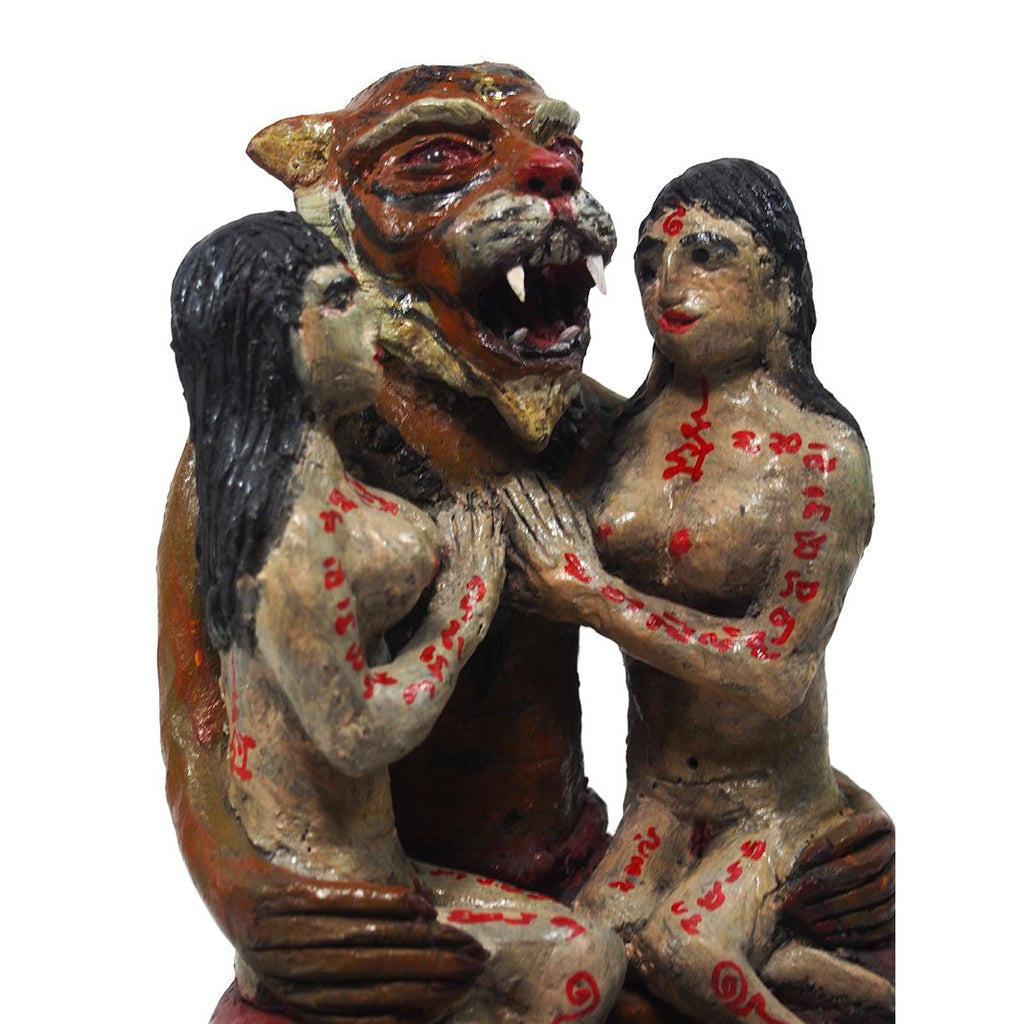 Phu Jao Seua Saming Prai Tiger Spirit Figure with Two Maidens 5