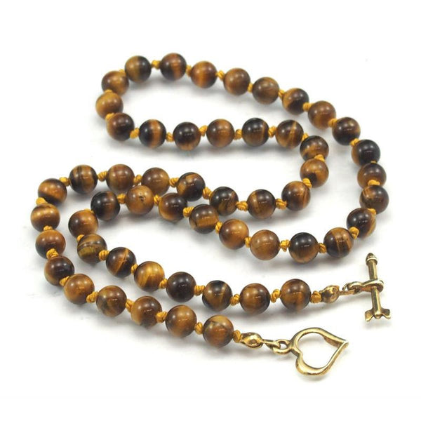 Tiger's Eye Necklace with Gold Plated Toggle Clasp