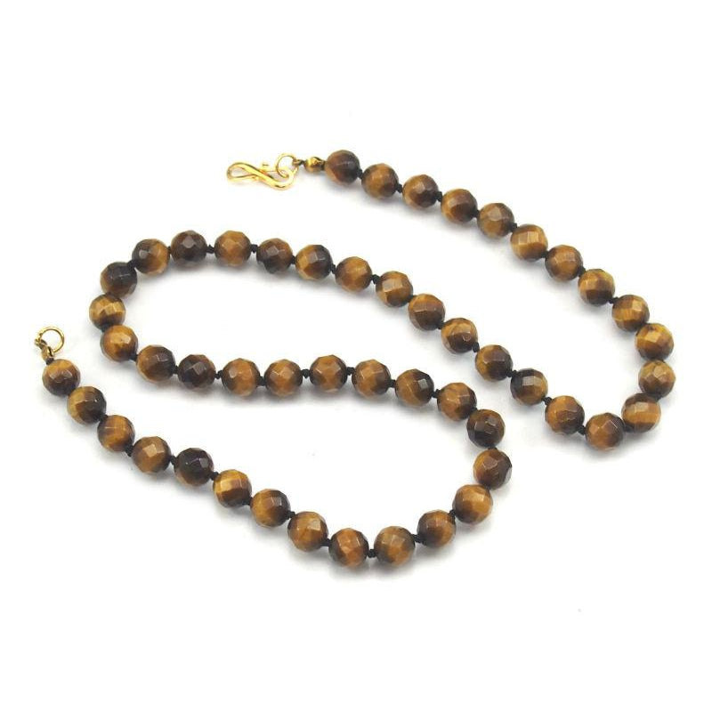 Tiger's Eye Necklace with Gold Plated S-Hook Clasp