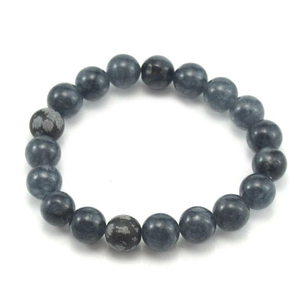 Iolite and Snow Flake Obsidian Stretch Bracelet 10mm