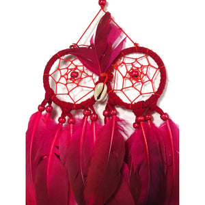 Owl Dreamcatcher Wall Hanging Red