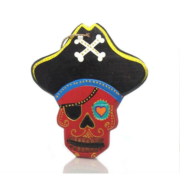 Painted Wooden Pirate Skull Ornament