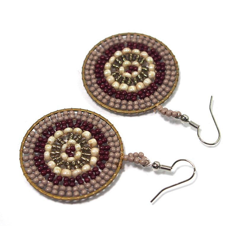 Seed Bead Round Earrings 2