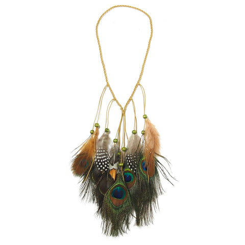 Feather Necklace With Braided Cord