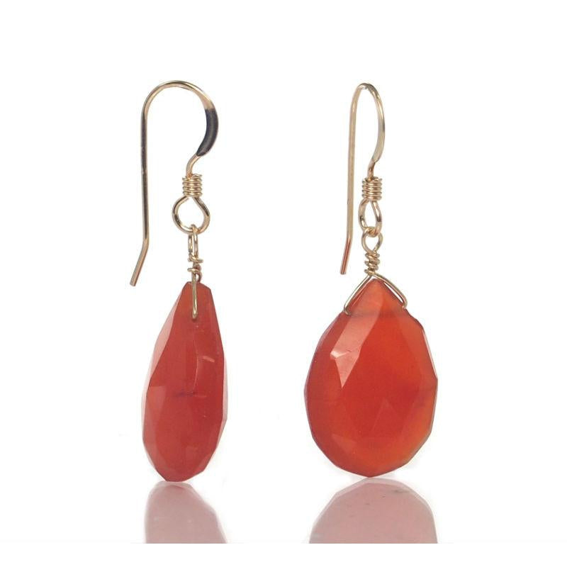 Carnelian Earrings with Gold Filled French Ear