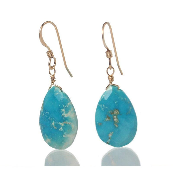 Sleeping Beauty Turquoise Earrings with Gold Filled French Ear Wires