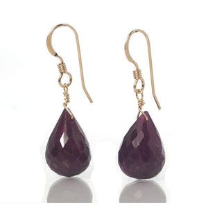 Ruby Faceted Earrings with Gold Filled French Ear Wires
