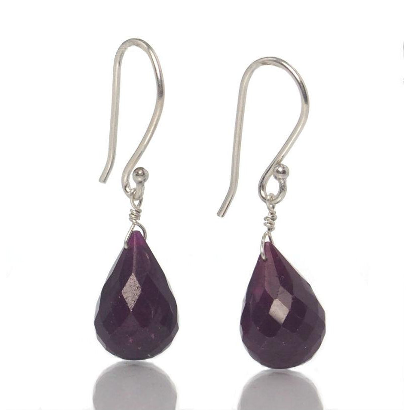 Ruby Faceted Earrings with Sterling Silver French Ear Wires