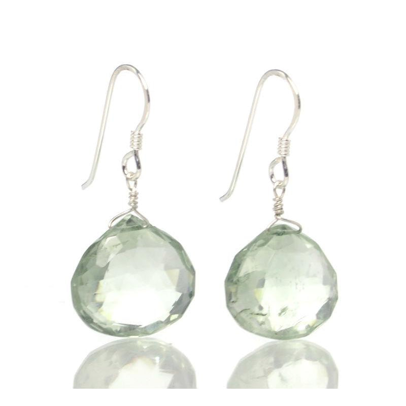 Green Amethyst Earrings with Sterling Silver French Ear Wires