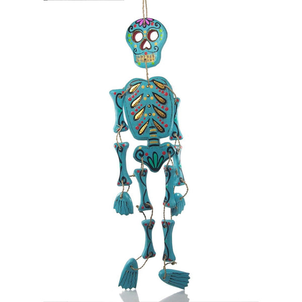 Painted Wooden Skeleton Figure Ornament