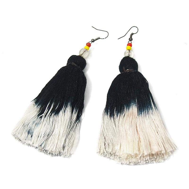 Ombre Tassel Hilltribe Earrings, F