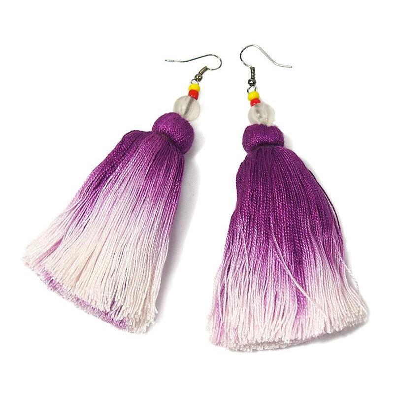 Ombre Tassel Hilltribe Earrings, E