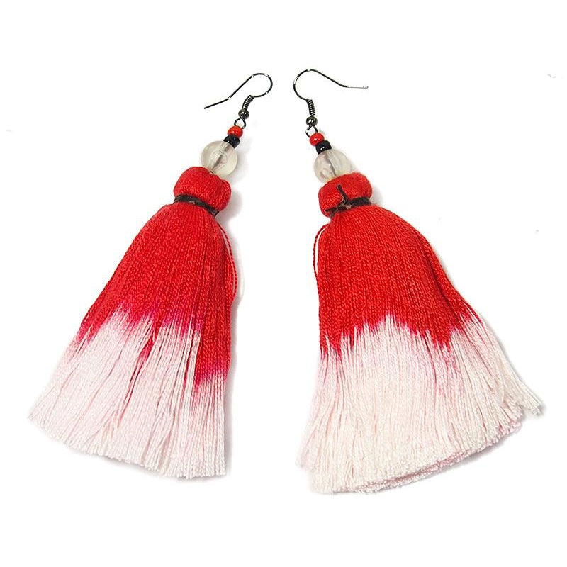 Ombre Tassel Hilltribe Earrings, C