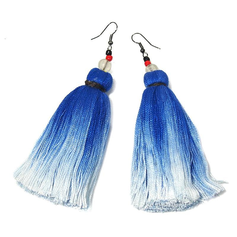 Ombre Tassel Hilltribe Earrings, B