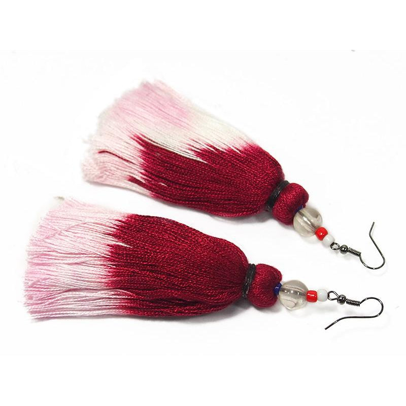 Ombre Tassel Hilltribe Earrings, A