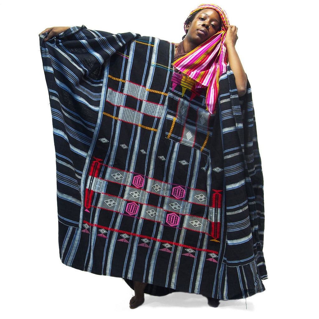 Hausa Grand Bou Bou From Nigeria With Northern Thai Woven Heirloom Wrap 2