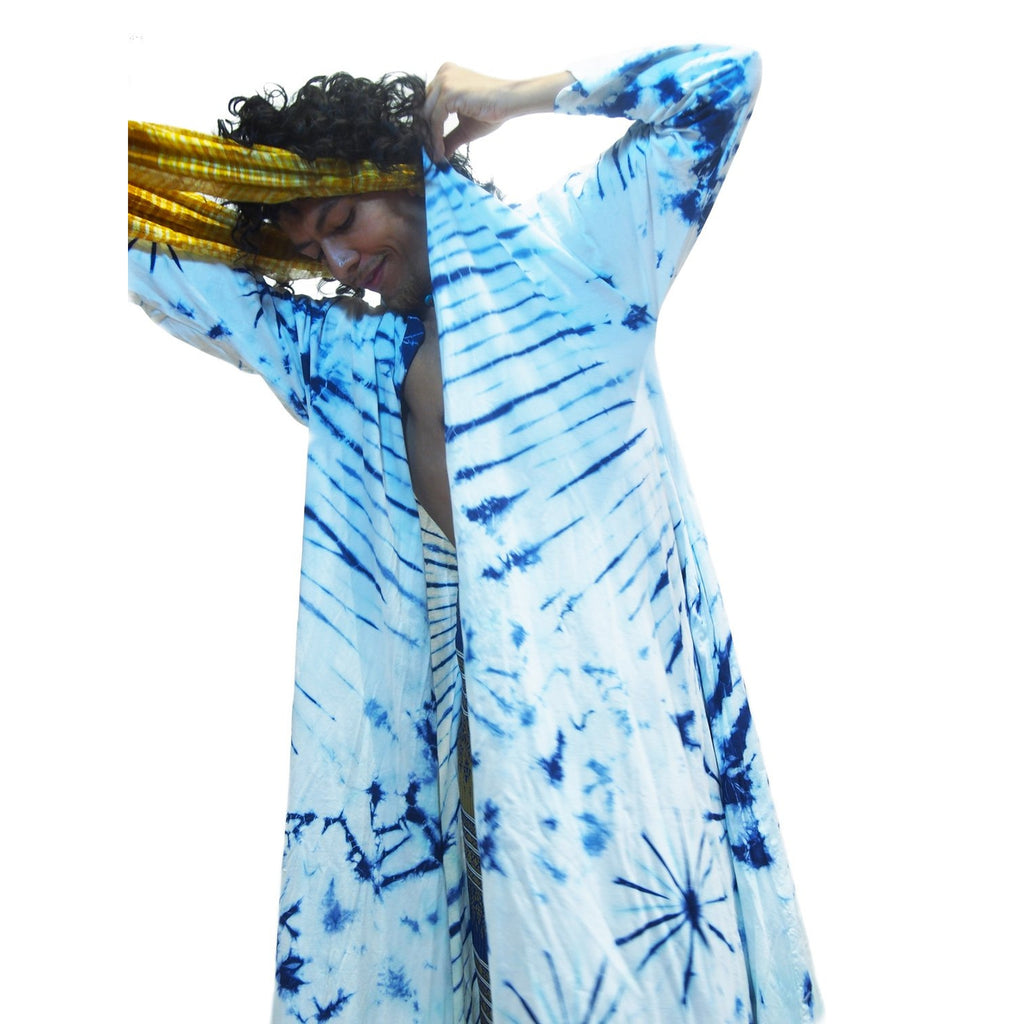 Tie Dye Kimono-Style Long Jacket Navy/White With Thai Printed Wrap Skirt Gold  7