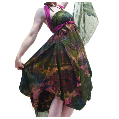 Tie Dye Parachute Skirt Green (worn as dress) With Thai 100% Silk Shawl 11