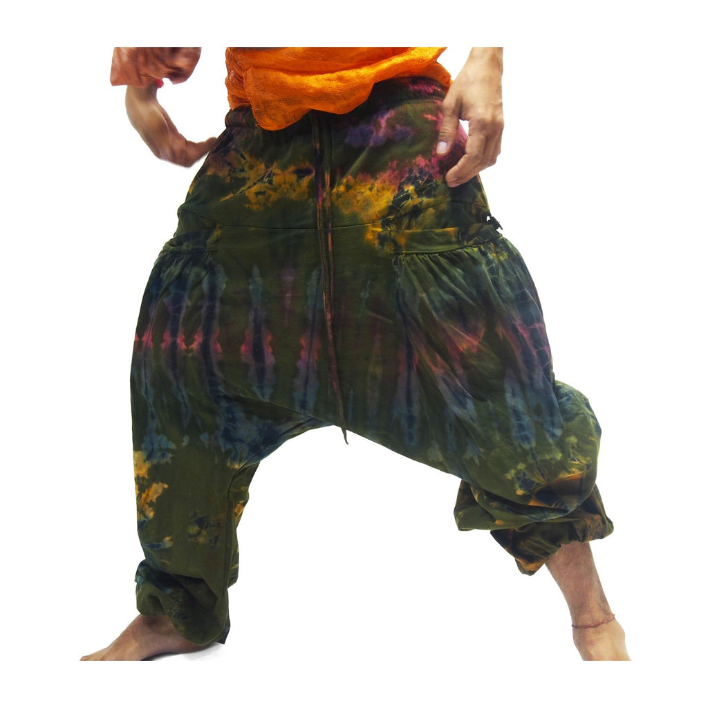 Tie Dye Harem Pant Green Sunset With Thai 100% Silk Shawls 18