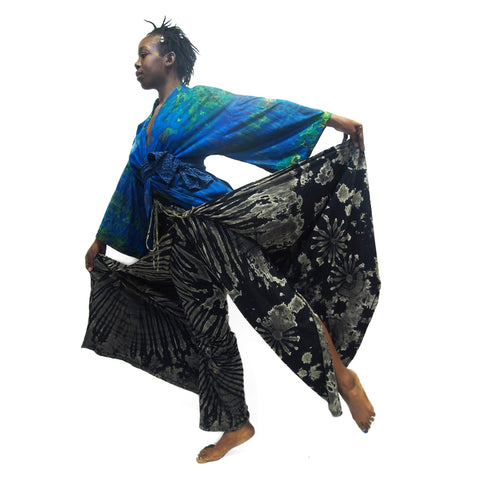 Tie Dye Kimono-Style Jacket Vivid Blues With Tie Dye Open-Leg Pants Black 16