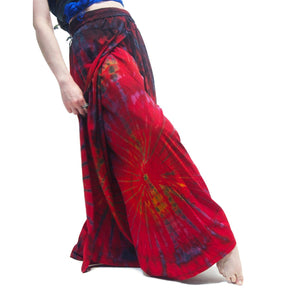 Tie Dye Open-Leg Pant Red With Sumba Indonesia Ikat Scarf 19