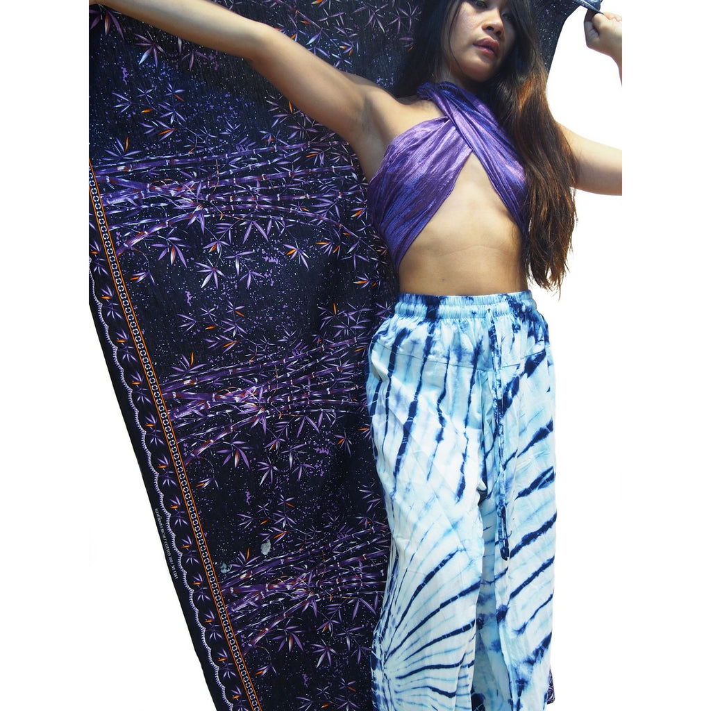 Tie Dye Open-Leg Pant Blue/White With Bali Indonesia Printed Sarong And Thai 100% Silk Scarf 20