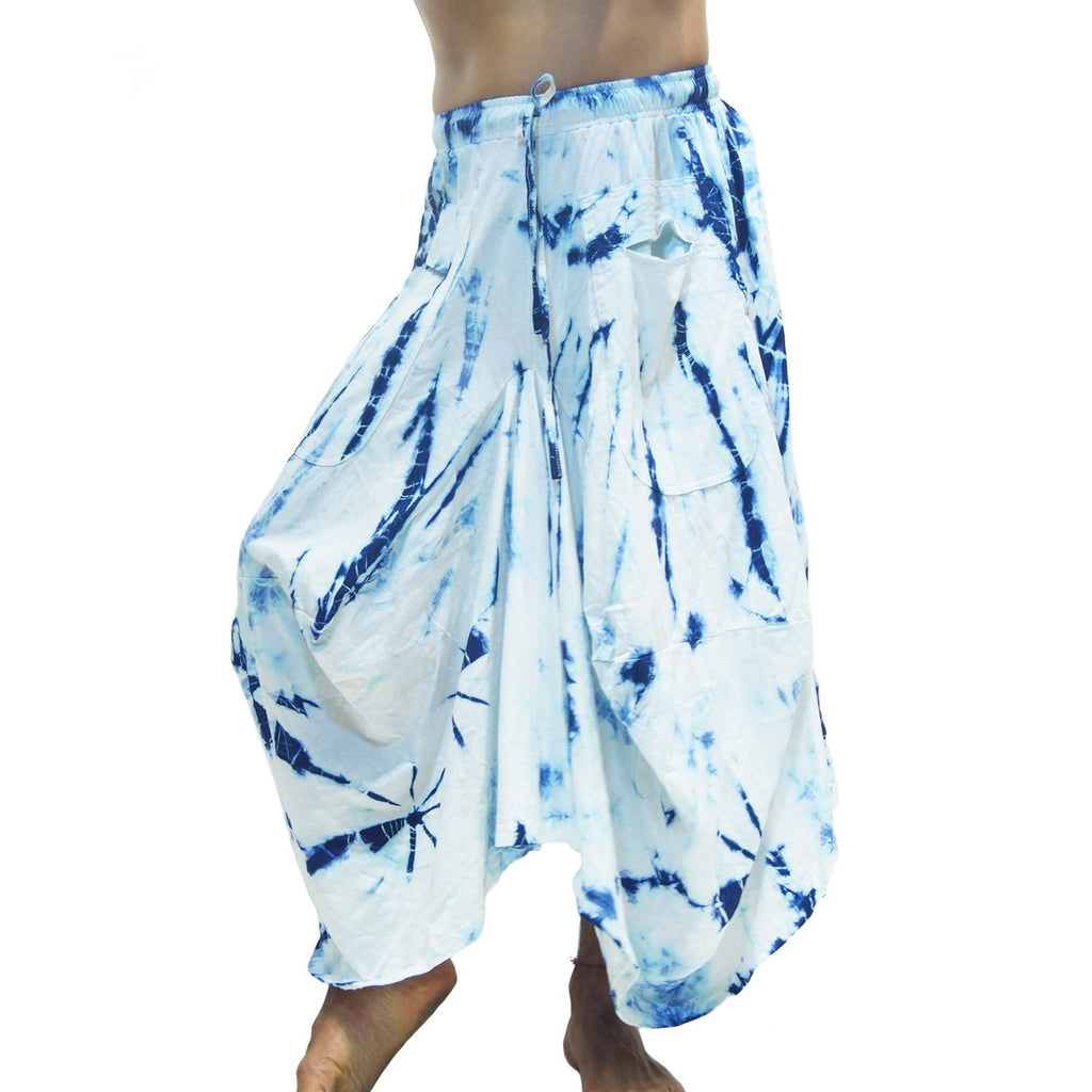 Uzbekistan 100% Silk Shell Heirloom Wrap With Tie Dye Parachute Skirt Blue/White 21