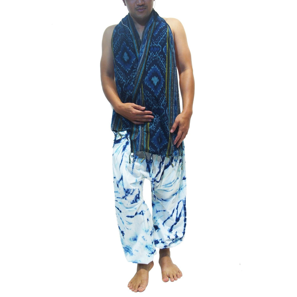 Tie Dye Harem Pant Blue/White With Sumba Indonesia Ikat Scarf And Thai Farmer Hat 22