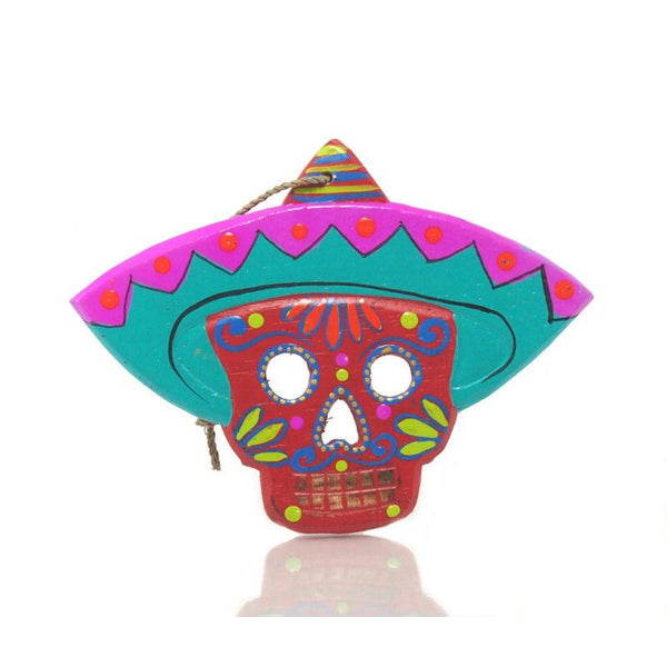 Painted Wooden Skull with Sombrero Ornament
