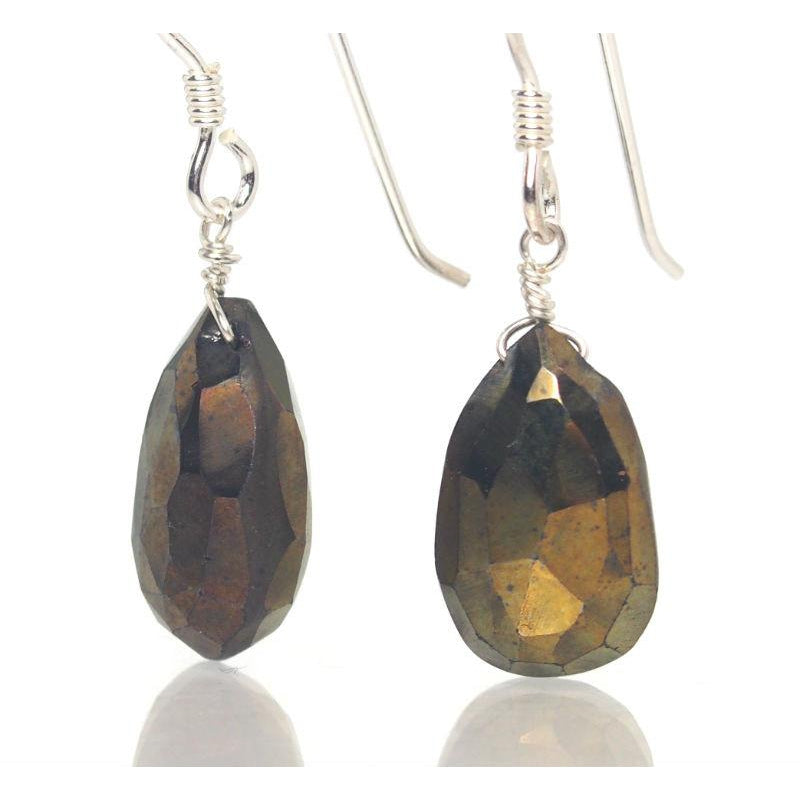 Coated Pyrite Earrings with Sterling Silver French Ear Wires